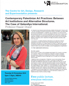 CADRE lecture: Rawan Sharaf – Contemporary Palestinian Art Practices